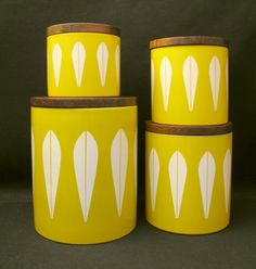 4X RARE Vintage Catherineholm Norway Lotus Kitchen Canisters Catherine Holm | eBay