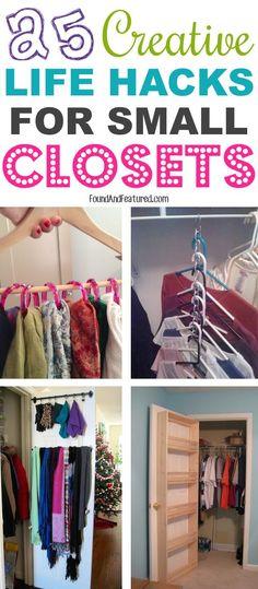 Lots of cheap, small closet ideas! DIY Orgnaization #14 shoe rack idea is my favorite.