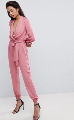 428d83e03076 Parallel Lines Pink Plunge Long Sleeve Belted Jumpsuit - Size 8 BNWT   fashion  clothing