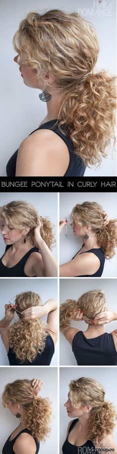 Curly hairstyle tutorial: The Curly Ponytail Hair Romance - Bungee Pferdeschwanz Hair Tutorial in lockigem Haar Curly Hair Styles, Curly Hair Tips, Hair Dos, Wavy Hair, Natural Hair Styles, Frizzy Hair, Curly Ponytail, Ponytail Hairstyles, Pretty Hairstyles