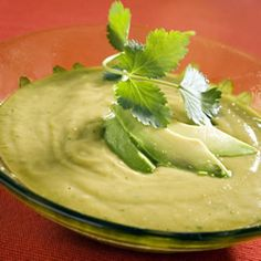 The richness of this tasty chilled soup is balanced by the sharp injection of lime hot pepper sauce. An optional dash of Tequila adds an extra Southwestern kick. Avocado Dishes, Avocado Soup, Avocado Recipes, Cilantro Soup Recipe, Cilantro Sauce, Guacamole, Tequila, Coriander Soup, Fruit Soup