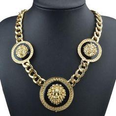 Goldkette Medusa Löwenkopf Gold schwarz 18K plated (1111)Willkommen im  www.Chelsea-Fashion-Glamur.de  Shop Secondhand und Neuware Mode zu günstigen Preisen   Dies und Das für jeden was.....