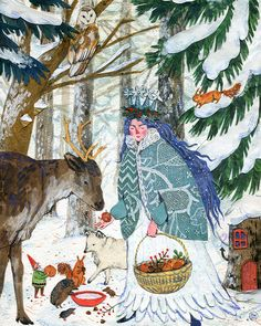 Lady Winter ~ artist Phoebe Wahl, c.2014. Watercolor, collage, colored pencil. For December in the 2015 Taproot Magazine wall calendar. #art #illustration