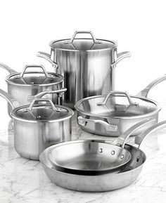 Calphalon AccuCore Stainless Steel 10 Piece Cookware Set - Calphalon - Kitchen - Macy's