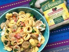 This deliciously creamy One Pot Tomato Basil Tortellini recipe with al fresco Chicken Sausage is just what your family needs on a busy weeknight. Ready in less than 30 minutes, your kids will beg for seconds. Healthy Sausage Recipes, Chicken Sausage Recipes, Italian Chicken Sausage, Italian Sausage Recipes, Healthy Dinner Recipes, Cooking Recipes, Turkey Recipes, Sausage Tortellini, Chicken Tortellini