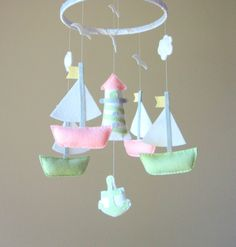 Baby Mobile - Sailboat Mobile - Nautical Theme Mobile - Custom Mobile.