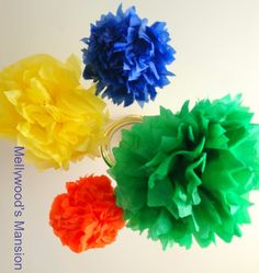 Tissue paper Poms! Add bright colours to kids room