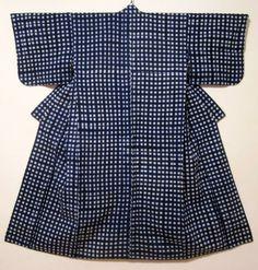 Yukata (informal unlined summer kimono) Cotton Itajimezome (clamp resist)