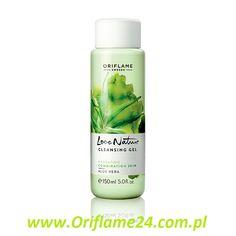 Love Nature Cleansing Gel Aloe Vera - Żel oczyszczający do twarzy z aloesem Love Nature Oriflame. Lekki, pieniący się żel z odświeżającym ekstraktem z aloesu. Usuwa ze skóry pozostałości makijażu i pozostawia ją doskonale odświeżoną. 150 ml