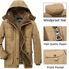 Winter Thicken Warm Multi Pockets Solid Color Detachable Hood Jacket for Men