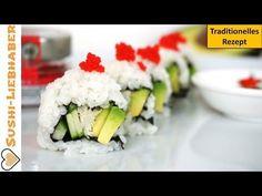 California Roll - Sushi Klassiker aus den USA: Gefüllt mit Krebsfleisch, Gurke und Avocado und dekoriert mit Tobiko