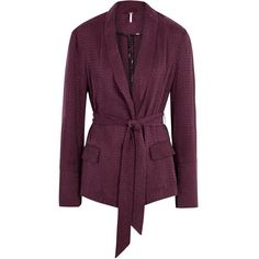 Free People Bonnie Houndstooth Cupro Blend Blazer - Size L (3,035 EGP) ❤ liked on Polyvore featuring outerwear, jackets, blazers, houndstooth jacket, open front jacket, purple jacket, open front blazer and purple blazer