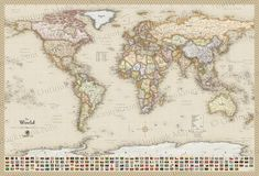 World political map earth toned poster size and framed national antique style world map with flags gumiabroncs Choice Image