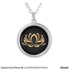 Japanese Lotus Flower Blossom Round Pendant Necklace