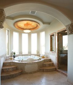 Bathroom with elegant domed ceiling and large jacuzzi tub bathtub 137 Bathroom Design Ideas (Pictures of Tubs & Showers) Bathroom Design Luxury, Modern Bathroom, Master Bathroom, Bohemian Bathroom, Master Baths, Dream Bathrooms, Beautiful Bathrooms, Dream Rooms, Interior Design Guide