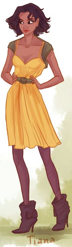 Hipster Tiana is a fashionable Disney princess.  Illustration by Victoria Ridzel