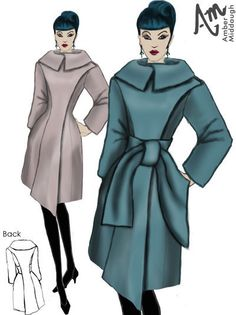 Side Opening Winter Coat in Wool By Amber Middaugh-- This coat is in a contest with Maison Academia ( an Italian clothes manufacture)  if you like please click on it and vote for it.   Thanks!!