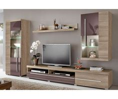 Ensemble mural hi-fi video 4 éléments bicolores Living Room Bar, Living Room Wall Units, Living Room Tv Unit Designs, Living Room Modern, Tv Unit Furniture Design, Tv Wanddekor, Tv Wall Cabinets, Modern Tv Wall Units, Rack Tv
