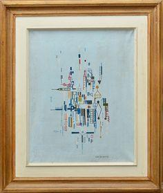 """IONE SALDANHA - """"Serie Aparelhos"""", O.S.T, assinado no canto inferior direito. Med.: 62x52 cm"""