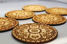 Engraved wooden coasters set  of 6 Victorian A by InvenioCrafts, €14.00