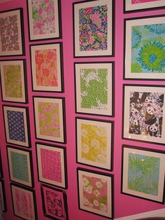 Frame Lilly Pulitzer pictures from google images, frame in a dollar store frame, ADORD Gift, room idea, etc. I love this!
