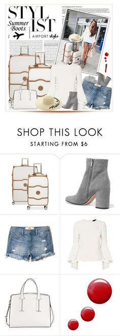 """""""Airport Style: Summer Booties"""" by malinda108 ❤ liked on Polyvore featuring Olsen, Delsey, Gianvito Rossi, Hollister Co., Exclusive for Intermix, French Connection, Forever 21, Topshop, airportstyle and summerbooties"""