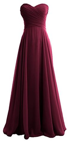 MACloth Women Strapless Pleated Chiffon Long Bridesmaid Dress Wedding Party Gown 12 Wine Red >>> More info could be found at the image url.