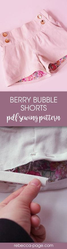PDF sewing pattern - The Berry Bubble Shorts for ladies are beautifully finished. This bubble shorts pattern is fully lined and has no raw edges showing, giving a truly boutique professional finish. Pattern comes in sizes XXS to 5XL. Scroll down to see more photos.