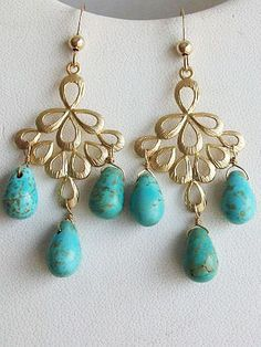 Turquoise earrings Blue earrings Turquoise Briolette by AnnTig, $29.95