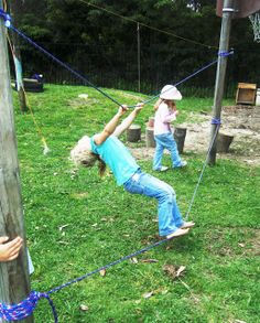 Rope bridge activity- Great balancing practice. Ropes can be tied in various ways for children so that children can experiment with it in different ways.