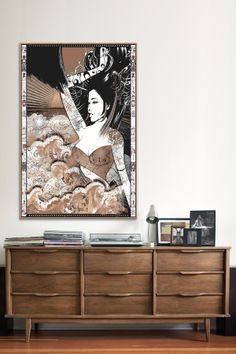 """Waves at Hoshinoya Onsen"" Canvas Art Print...Love the dresser"