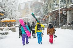 Whistler Village, located at the base of Whistler and Blackcomb Mountains, in British Columbia, Canada.