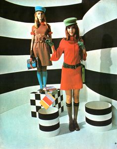 made in the sixties 60s fashion style color photo print ad MOD british color photo print ad red blue brown black dress mini