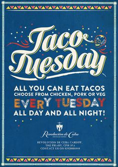 Taco Tuesday Food Menu Poster, Cuban and Mexican Graphic Design Mexican Graphic Design, Mexican Designs, Graphic Design Typography, Food Poster Design, Flyer Design, Layout Design, Poster Designs, Restaurant Poster, Restaurant Design