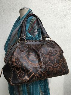 Vintage Rich Brown Mexican Tooled Leather Purse Bag Tote Stunning | eBay