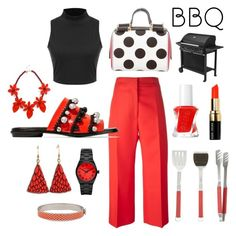 """""""BBQ at the Neighbor's"""" by laineys on Polyvore featuring Marni, Proenza Schouler, Michael Kors, Dolce&Gabbana, Kate Spade, Halcyon Days, Crate and Barrel, Essie and Bobbi Brown Cosmetics"""