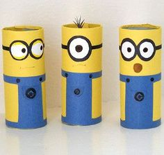 Minion craft idea - painted toilet rolls. Could be used as a table cutlery holder at a despicable me party?