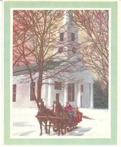 Vintage Christmas Card - horse drawn carriage and church