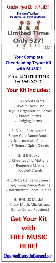 Are you a Cheerleading Coach that is getting ready for tryouts and would like some help? We got you! With this Cheerleading Tryouts Complete Kit, you will receive All of the forms you need for tryouts, a fun dance, an intermediate / advanced cheer, 3 general spirit chants and 3 cheerleading motions and chant ebooks to use for your upcoming season and MORE! #CheerleadingCoach #CheerleadingTryouts #CheerTryout #CheerleadingStunts #CheerCoach #CheerleadingJumps #CheerBow #CheerleadingChants #Cheer