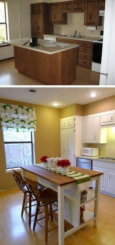 Budget Friendly Option. I Love the island from IKEA. The space looks much more airy and fresh now. There's no need to spend tons on custom cabinetry and granite counters, especially on a kitchen island. The island was a breeze to assemble and really high quality and very sturdy.