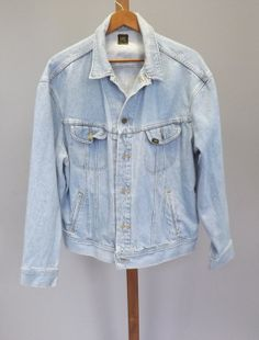 Vintage 80s 90s Lee Jean Jacket Light Blue Womens Mens Denim Jacket Button up Size Large Country Western Grunge Punk Boho