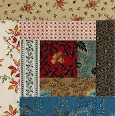Civil War Quilts-log cabin block with reproduction fabric Old Quilts, Antique Quilts, Mini Quilts, Vintage Quilts, Scrappy Quilts, Primitive Quilts, Vintage Sewing, Log Cabin Quilts, Barn Quilts