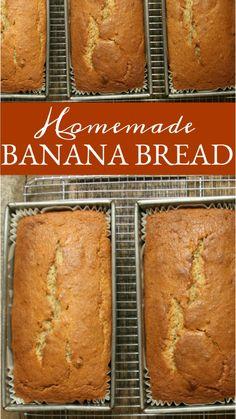 Super Moist Banana Bread, Homemade Banana Bread, Make Banana Bread, Banana Bread Recipes, Homemade Breads, Banana Bread Recipe With Shortening, Simple Banana Bread, Brown Sugar Banana Bread, Easy Bread Recipes
