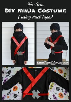 East Coast Mommy: Easy Black Ninja Costume (no sewing required) More