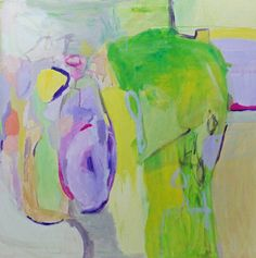 Large abstract painting modern art lime green yellow by pamelam, $380.00