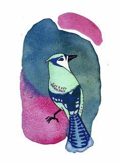 Green bird on pink Illustration by Josefa Cordua
