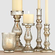 Informations About Subtle Sparkle & Shine: Mercury Glass Holiday Decor Pin You can easily use my pro Mercury Glass Decor, Mercury Glass Candle Holders, Glass Candlesticks, Chandeliers, Driven By Decor, Disney Home Decor, Candle Lanterns, Home Decor Accessories, Holiday Decor