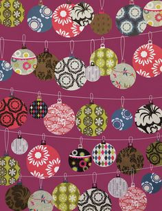 Holiday Gift Wrap Sheet, Christmas Baubles