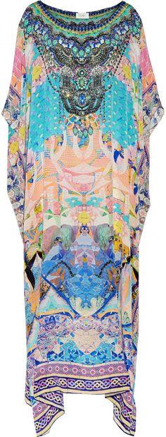 Camilla Gaudi Tribute Embellished Printed Silk-Crepe Kaftan