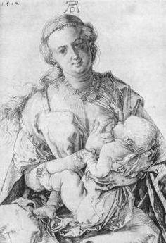 The Virgin Nursing the Child. Durer. 1512. Charcoal.  418 x 288 mm. Graphische Sammlung Albertina. Vienna.